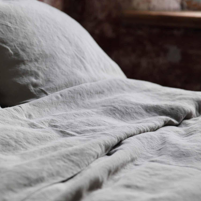 linnen dekbedovertrek grijs